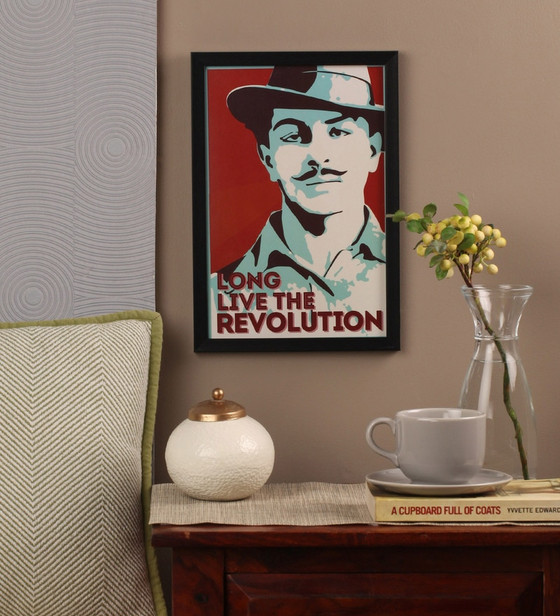 Glass, Fibre & Paper 8 x 1 x 12 Inch Bhagat Singh Long Live The Revolution Framed Poster by Seven Rays
