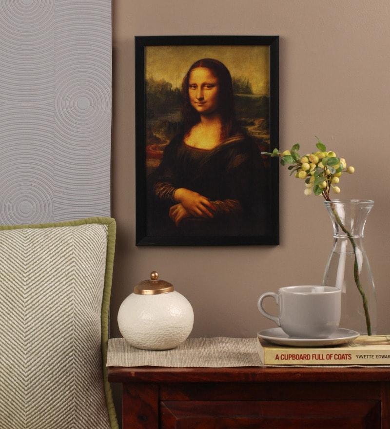 Glass, Fibre & Paper 8 x 1 x 12 Inch Mona Lisa by Leonardo Da Vinci Framed Poster by Seven Rays