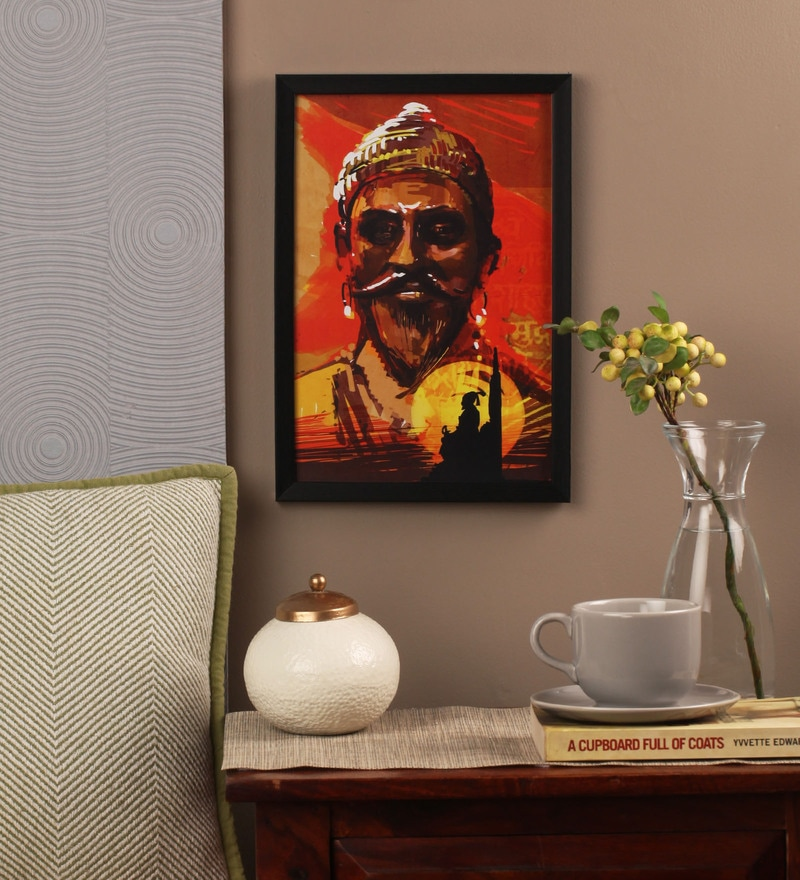 Glass, Fibre & Paper 8 x 1 x 12 Inch Shivaji Framed Poster by Seven Rays