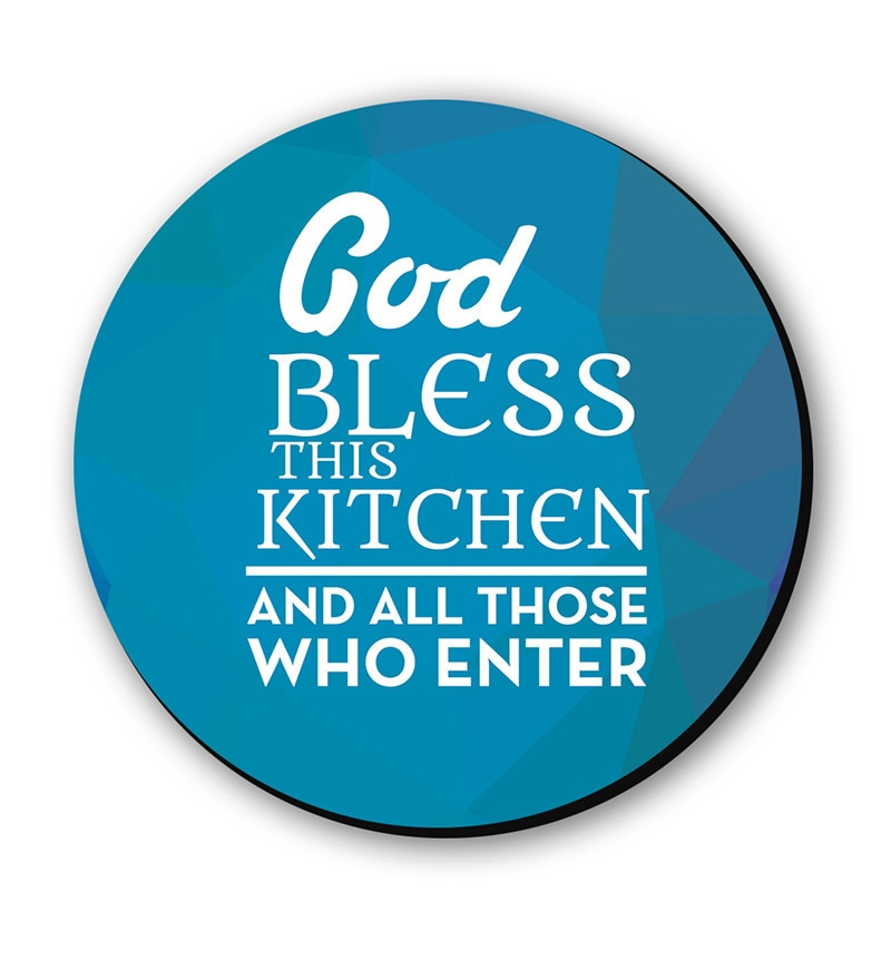 Blue & White Fibre Board God Bless This Kitchen Fridge Magnet by Seven Rays
