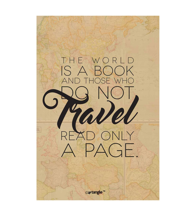 Paper 12 x 1 x 18 Inch World Is A Book Unframed Poster by Seven Rays
