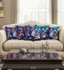Blue Cotton 16 x 16 Inch HD Digital Premium Royal Floral Cushion Covers - Set of 5 by SEJ By Nisha Gupta