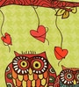 Green Silk 16 x 16 Inch Owls HD Print Cushion Covers - Set of 5 by SEJ By Nisha Gupta