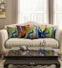 Multicolour Cotton 16 x 16 Inch HD Digital Printed Abstract Cushion Covers - Set of 5 by SEJ By Nisha Gupta