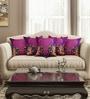 Purple Cotton 16 x 16 Inch HD Digital Premium Elephants Cushion Covers - Set of 5 by SEJ By Nisha Gupta