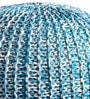 Senorita Knitted Cotton Pouffe in White & Aqua Colour by Purplewood