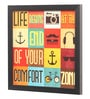 Glass, Fibre & Paper 8 x 1 x 12 Inch Life Begins At The End of Your Comfort Zone Framed Poster by Seven Rays