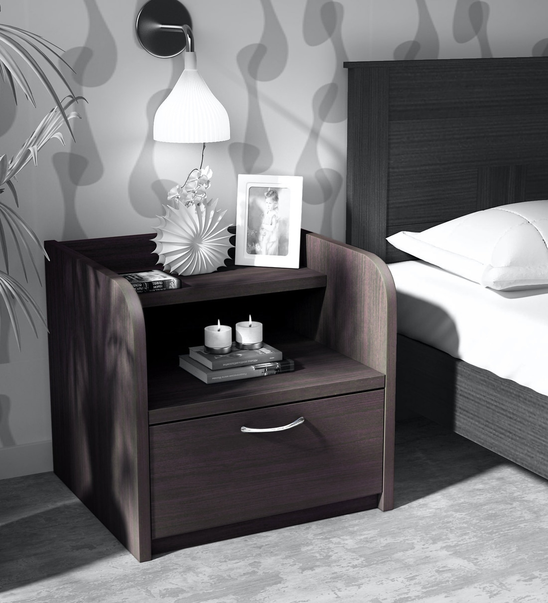 Buy Shinju Bed Side Table In Wenge Finish Mintwud By Pepperfry Online Modern Night Stands Tables Furniture Pepperfry Product