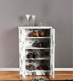 Shoe Rack in White and Cream Finish
