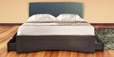 Shinju Queen Size Upholstered Bed with Side Storage in Wenge Finish