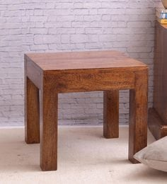 Sheesham Wood Square End Table Cum Stool In Honey Finish