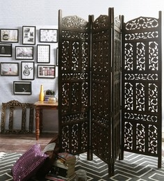 readymade wall partitions living room drina solid wood panel freestanding room divider in brown finish screens dividers buy online india at best