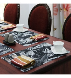 Shremo Spruzzo Floral Black Pvc Placemats - Set Of 6