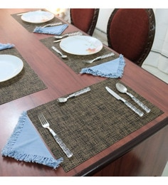 Shremo Tischset Checks Brown Pvc Placemats - Set Of 6