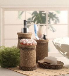 Shresmo Khaki Polyresin Cube 4 Piece Bathroom Accessory Set