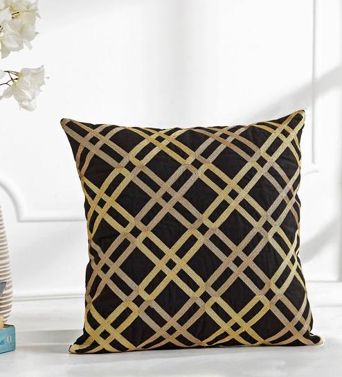 Shahenaz Home Shop Metallic Matrix Gold Cotton Cushion Cover