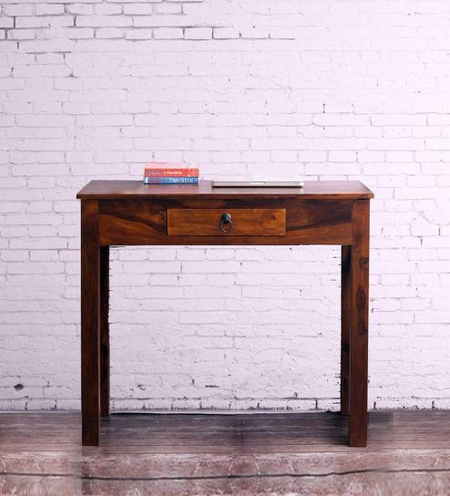 Sheesham Wood Cross Console Table In Honey Finish By VarEesha