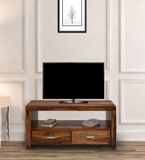 Sheesham Wood TV Unit In Natural Teak Finish By TimberTaste