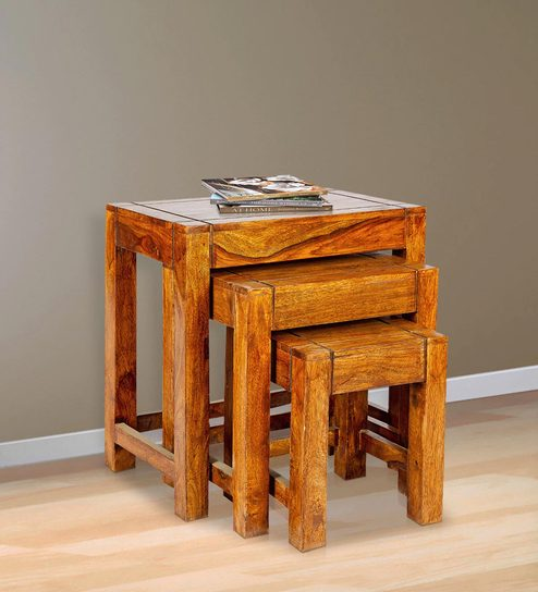 Sheesham Wood Nesting Table Set Of 3 In Golden Oak Finish By Karigar
