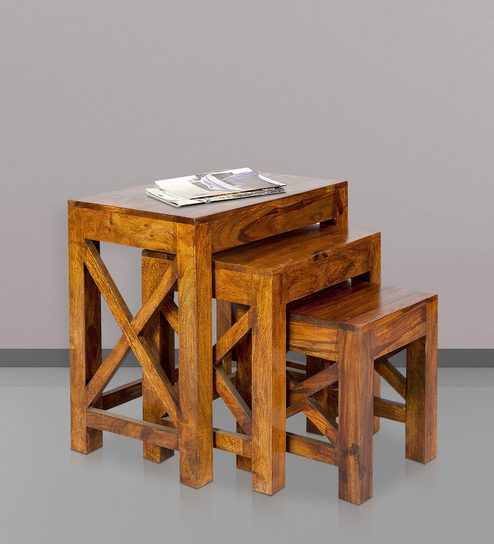 Wood Nesting Table Set Golden Oak Finish Sheesham Furniture Suppliers India  Online Shops In Hyderabad