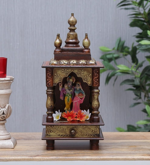 Sheesham Wood Pooja Mandir For Home Office In Copper Finish By D Dass