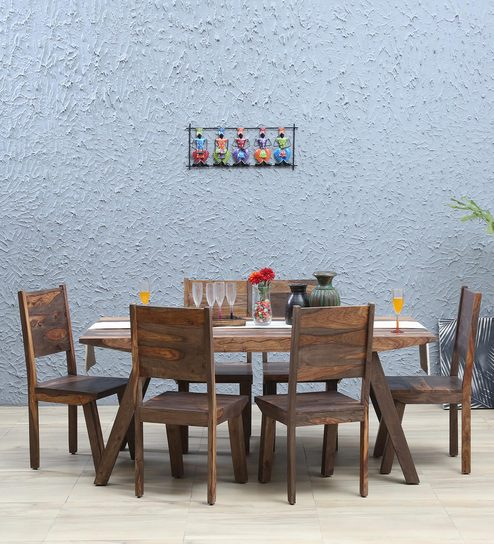 Fumee Solid Wood Six Seater Dining Set In Smoke Grey Finish By Woodsworth