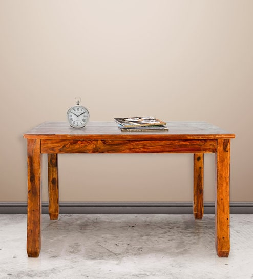 Sheesham Wood Table In Golden Oak Finish By Karigar