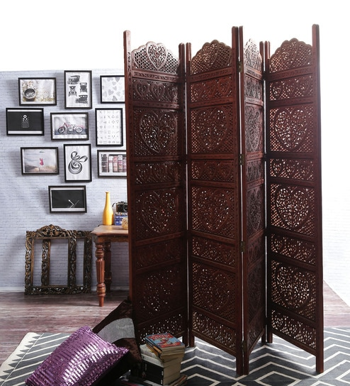 Rhine Solid Wood 4 Panel Free-Standing Room Divider in Brown Finish by  Shilpi