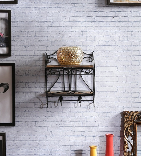 Solid Wood Hand Made Decorative Wall Shelf With Metal Base In Brown Finish By Shilpi