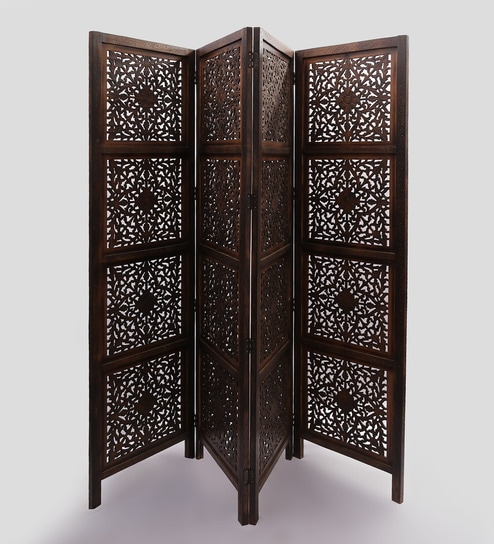 Derkul Solid Wood 4 Panel Free-Standing Room Divider in Brown Finish by  Shilpi