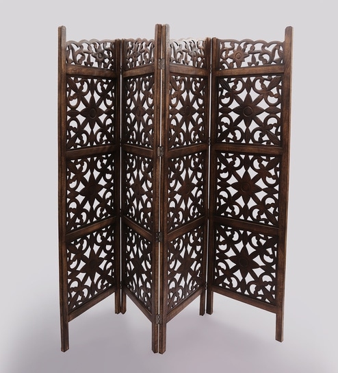 San Juan Solid Wood 4 Panel Free Standing Room Divider In Brown Finish By Shilpi