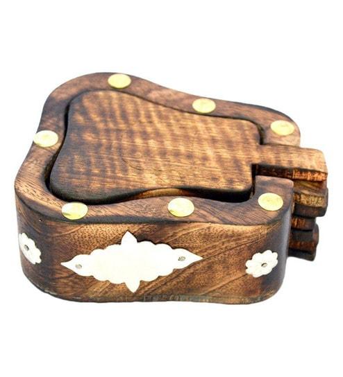 Shilpi Wooden Brown Coaster With Holder - Set Of 6