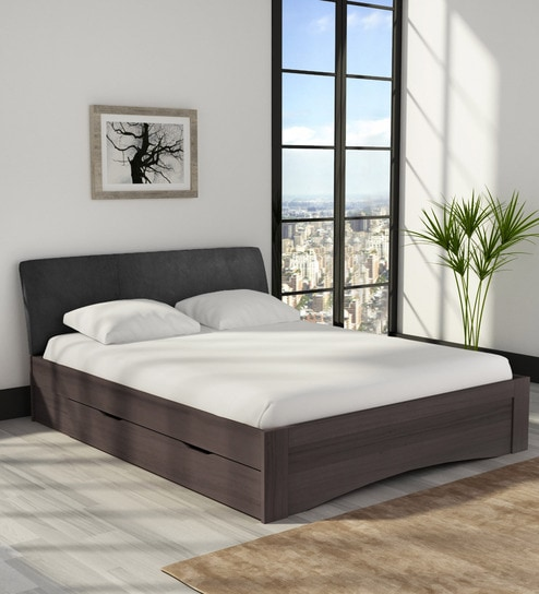 Buy Shinju Queen Size Upholstered Bed With Side Storage In