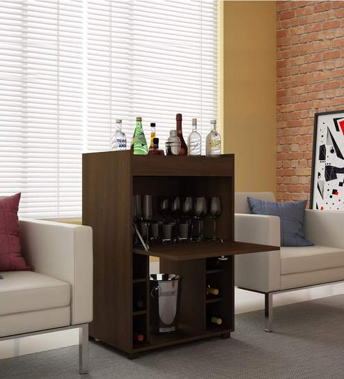 Shochu Bar Cabinet With Bottle Holder In Brown Finish By Mintwud Online Modern Cabinets Furniture Pepperfry Product