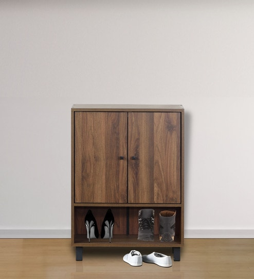 Two Door Shoe Cabinet With Open Space In Bottom In Wenge Finish By DHEP  Furniture