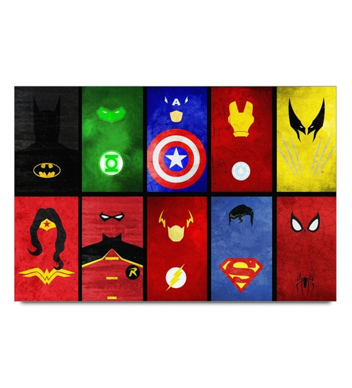 Paper 19 x 13 Inch Superhero Cards Unframed Laminated Poster by Shop Mantra