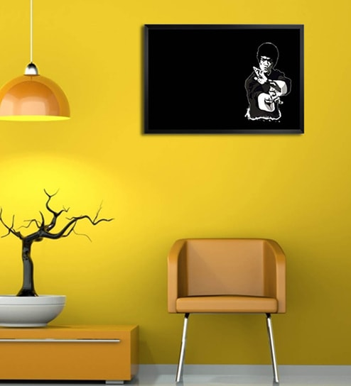 Wooden 19 x 1 x 13 Inch Bruce Lee Framed Poster by Shop Mantra