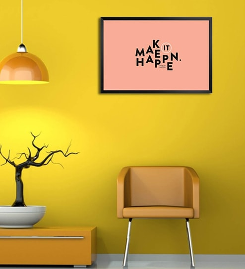 Wooden 19 x 1 x 13 Inch Make It Happen Framed Poster by Shop Mantra