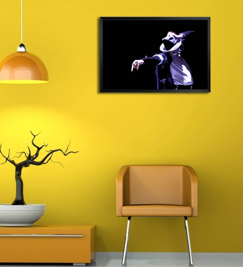 Wooden 19 x 1 x 13 Inch Micheal Jackson Signature Pose Framed Poster by Shop Mantra
