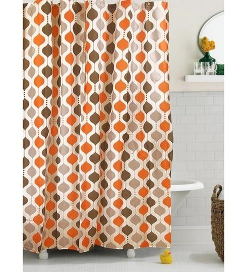 Bianca Bright Orange Printed Shower Curtain With Hooks