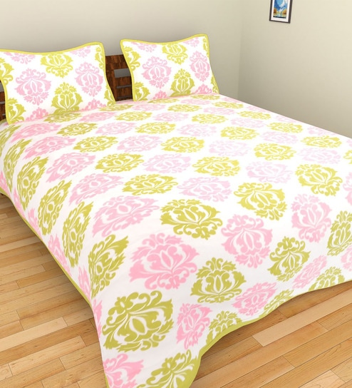 Shra Pink And Green Cotton Damask Double Bed Sheet With Pillow Covers