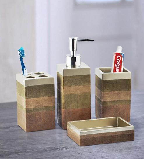Bathroom Accessories.Polyresin Recto Counter Top Bathroom Accessories In Multicolour Set Of 4 By Shresmo