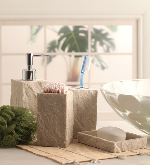 Buy shresmo white polyresin cube 4 piece bathroom for White bath accessories sets
