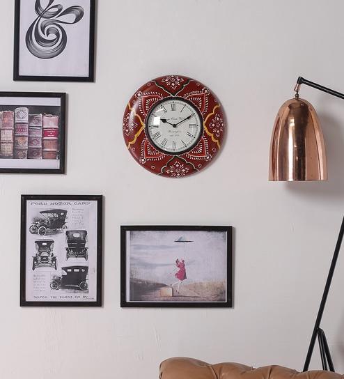 Upto 51% Off On Wall Clocks By Pepperfry | ShriNath Multicolour MDF 12 Inch Round Room Handmade Handicraft Wall Clock @ Rs.1,169