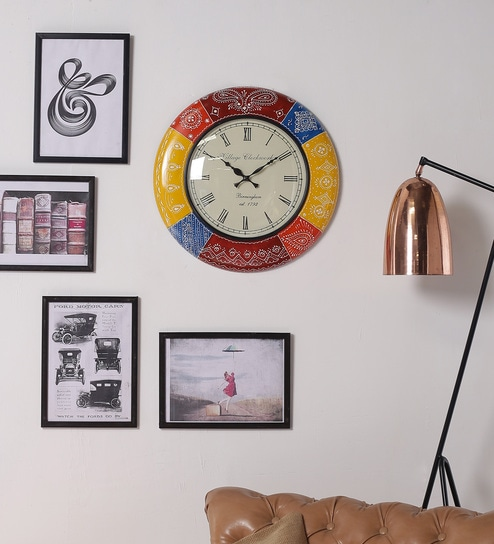 Multicolour MDF 18 Inch Round Royal Handmade Living Room Wall Clock By  ShriNath Part 69