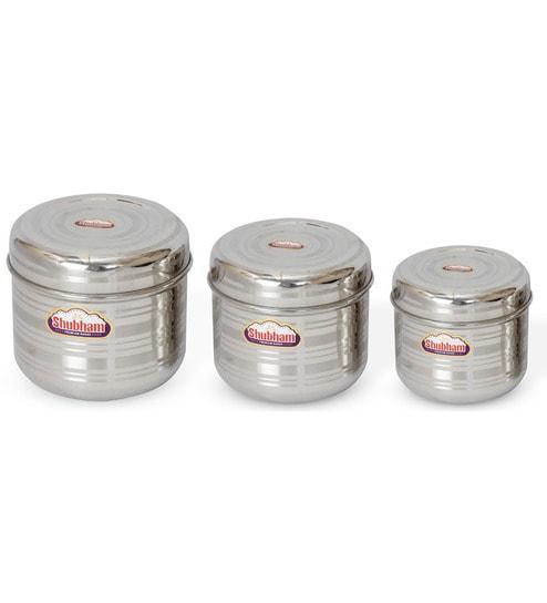 Buy Shubham Kitchen Storage Flat Steel Container 3 Pcs Set Online