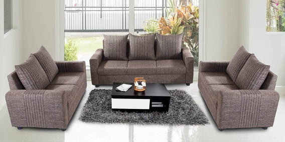 Buy Shenzen 3 2 2 Sofa Set In Grey Colour By Looking Good