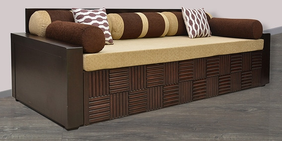 Buy Shine Sofa Cum Bed In Brown Colour By Hometown Online