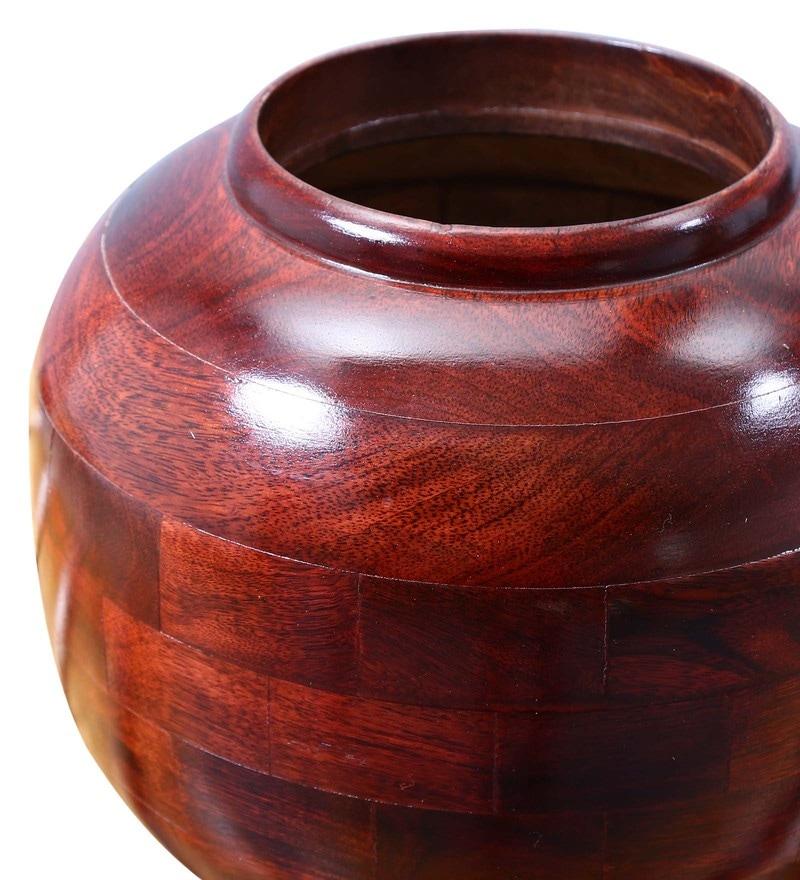 Buy Brown Mango Wood Vases Set Of 3 By Shagun Arts Online Wooden