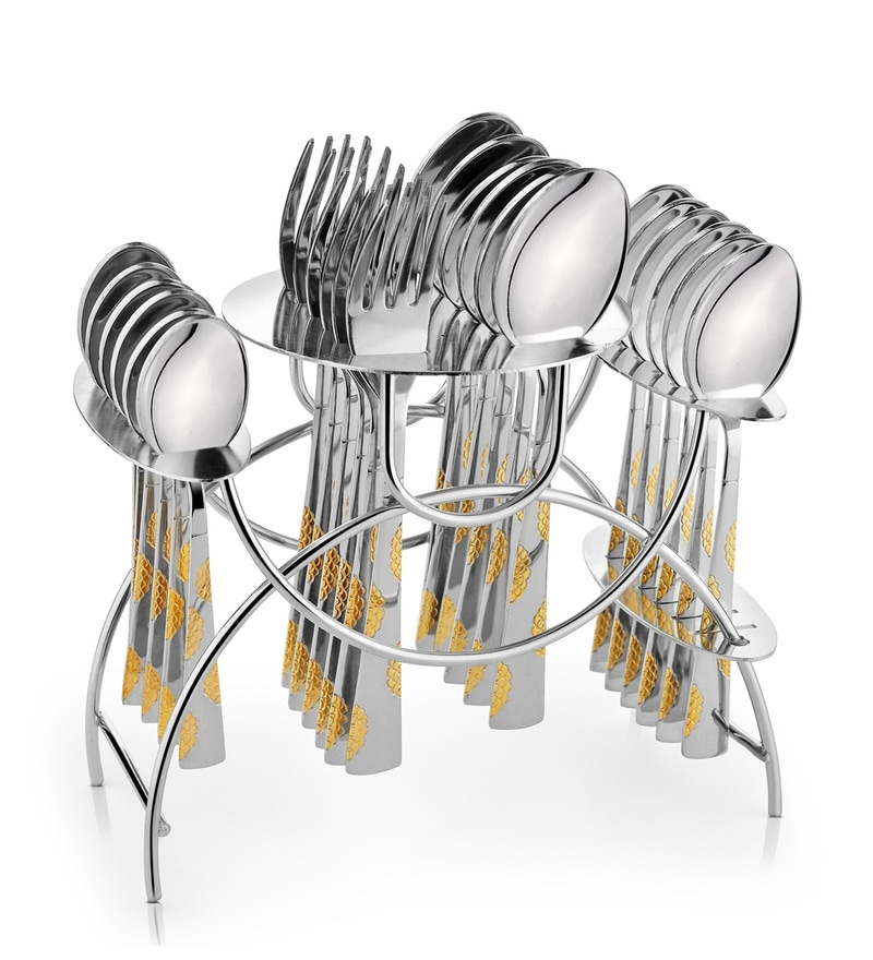 Shapes Arena (Bs) Stainless Steel Spoons and Forks 25-piece Cutlery Set With Stand